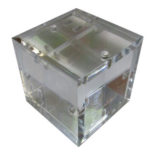Lucite Cube Paperweight Picture Frame