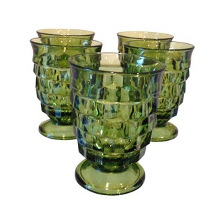 Vintage Emerald Green Cocktail Glasses - Set of 5