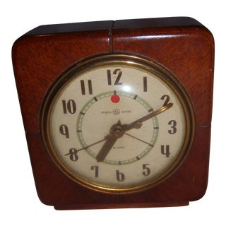 Art Deco Style General Electric Wood Alarm Clock