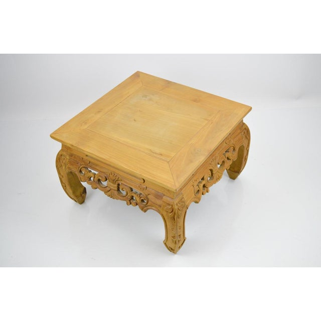 Carved, Stripped Wood Asian Low Tables - a Pair - Image 4 of 7