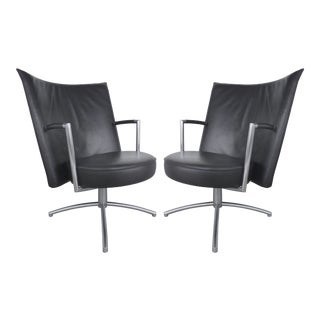 Foersom & Hiort-Lorentzen Leather & Stainless Chairs - a Pair