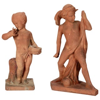 Signed French Terra Cotta Garden Children Statues - A Pair