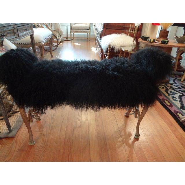 Iron Mongolian Lamb's Wool Upholstered Bench - Image 5 of 9