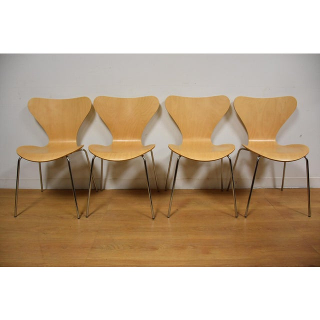 Image of Arne Jacobsen Style Birch Dining Chairs - Set of 4