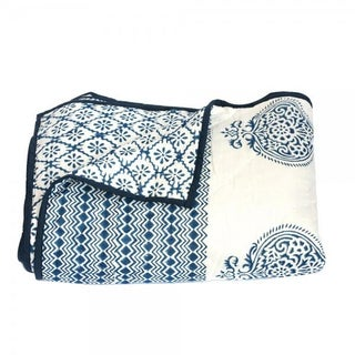 Blue Block-Printed Quilt - Queen