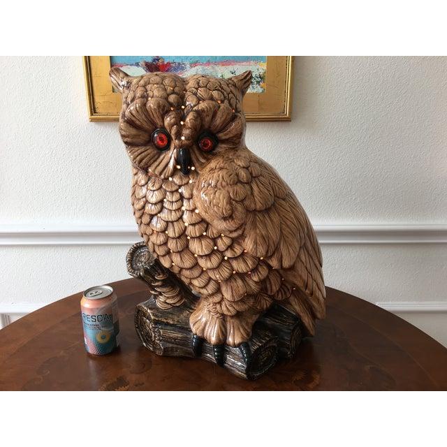 Mid-Century Ceramic Owl Lamp - Image 6 of 10