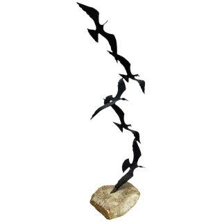 Mid Century Modern Birds in Flight Sculpture on Stone Base