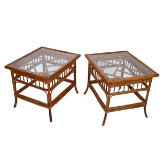 Bamboo Wood Glass Top Side Tables - Pair
