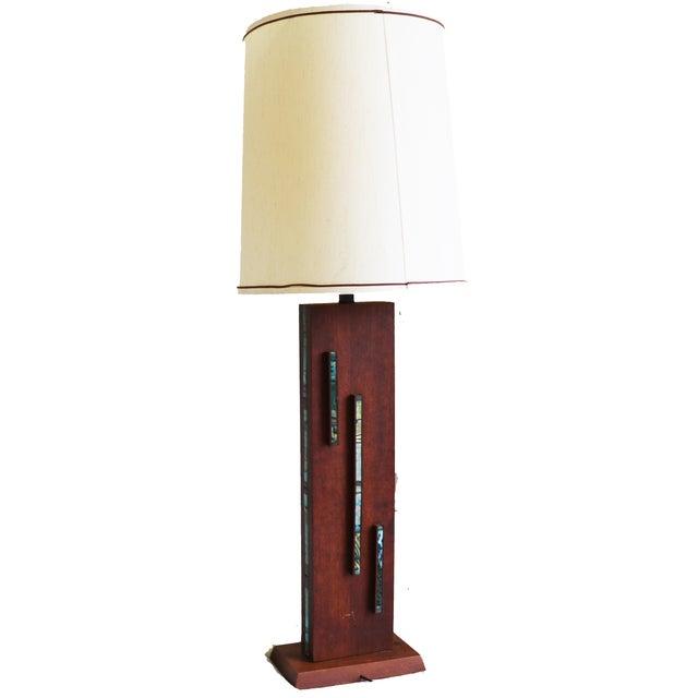 Mid century wooden rectangular table lamp chairish for Tall slim lamp table