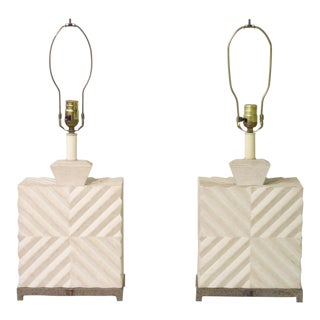 50's Geometric Design Lamps - Pair
