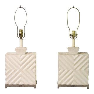 50's Geometric Design Lamps - Pair