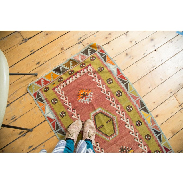 "Lime Green Vintage Kilim Rug - 2'6"" X 4'3"" - Image 5 of 6"