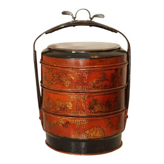 Vintage Japanese Round Stacking Jubako Wooden Tiered Painted Storage Box