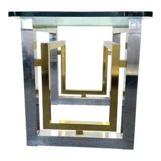 Mid-Century Glass Top Brass & Chrome End Table