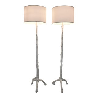 White Faux Bois Floor Lamps Inspired by Serge Roche - a Pair