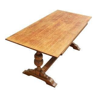 Antique Solid Oak Refectory Trestle Table- Jacobean Writing Desk