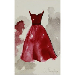 Red Gown Watercolor Painting