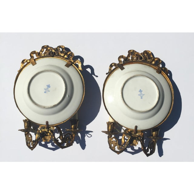 Antique Plate Wall Sconces - A Pair - Image 9 of 11