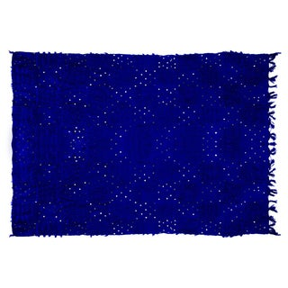 "Handira Blue Wedding Blanket - 6'5"" x 7'2"""