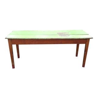 Rustic Green Top Farm Table