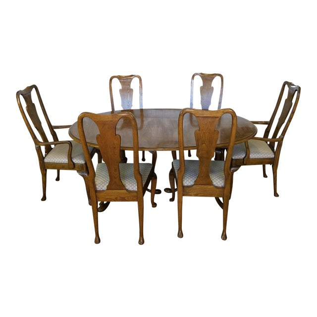 Baker Furniture Banded Oak Queen Anne Dining Set 1980s Chairish