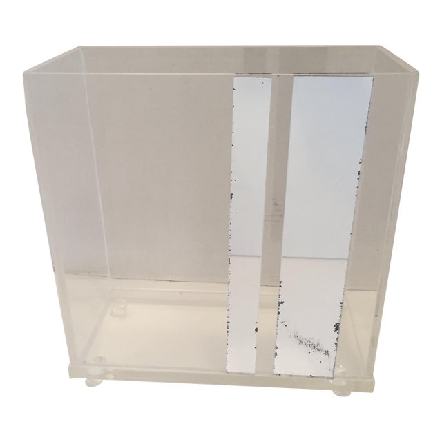 Lucite & Faux Mirror Paper Basket - Image 1 of 6