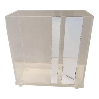 Lucite & Faux Mirror Paper Basket