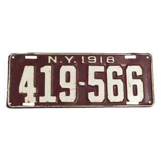 1918 New York License Plate