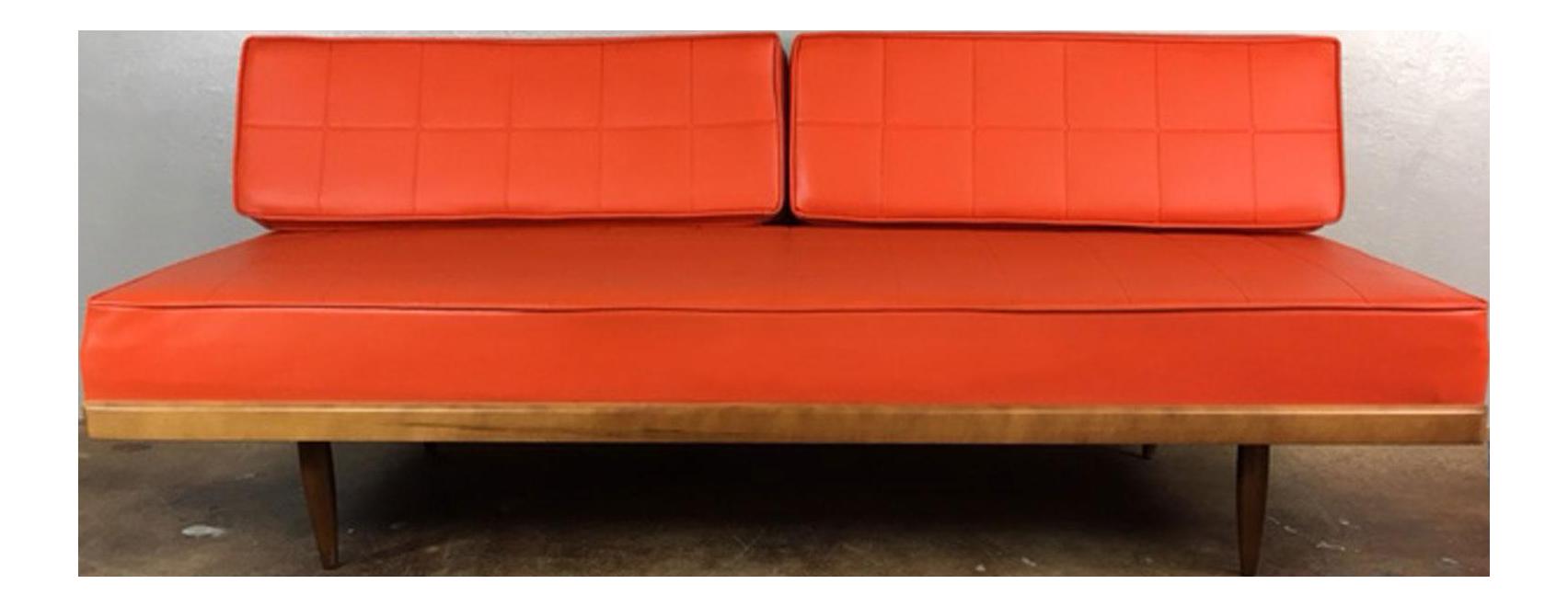 midcentury modern orange daybed