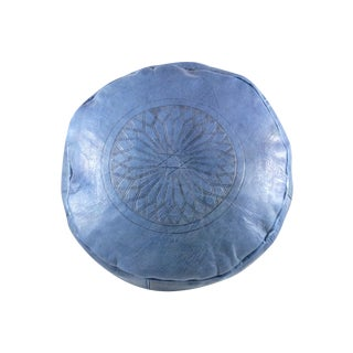 Blue Leather Moroccan Pouf