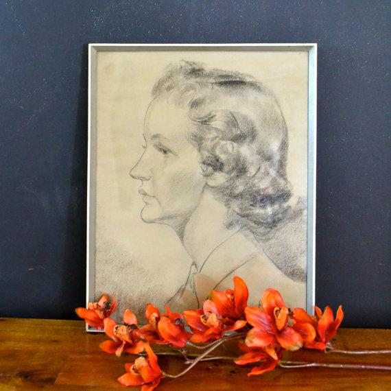Image of 1956 Vintage English Hand Sketch of a Woman