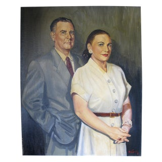Quirky Oil Painting of Couple on Canvas