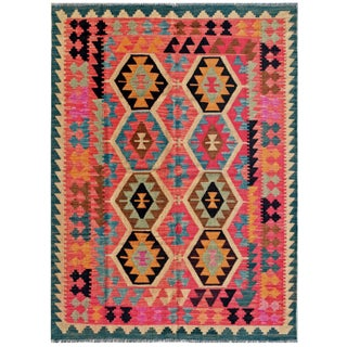 "Vintage Turkish Kilim Area Rug - 4'11"" X 6'7"""