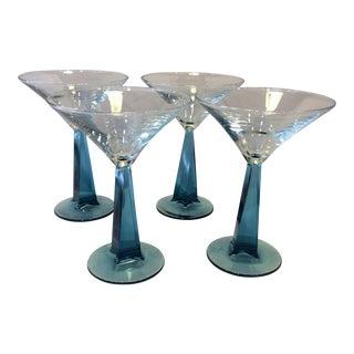 Blue Twisted Stem Martini Glasses - Set of 4