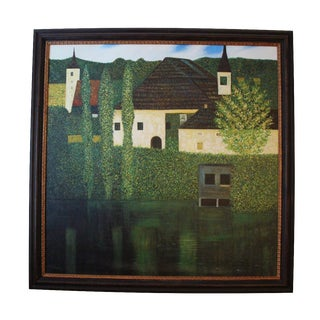 Framed French Lake Oil Painting