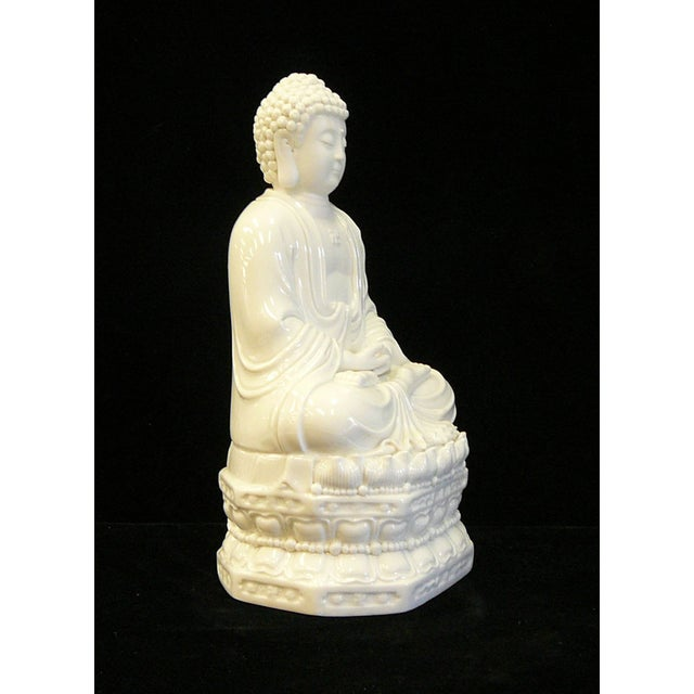 Chinese White Porcelain Buddha on Base Statue - Image 3 of 7