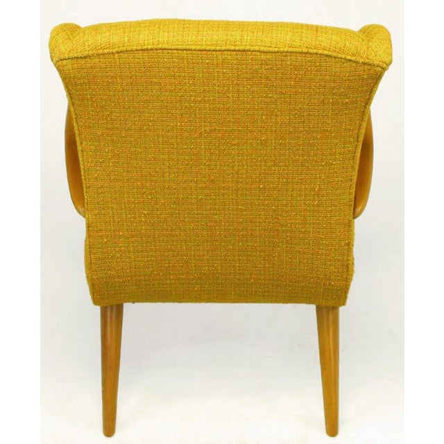 Circa 1940s Maple Wood & Saffron Upholstered Lounge Chair - Image 6 of 10