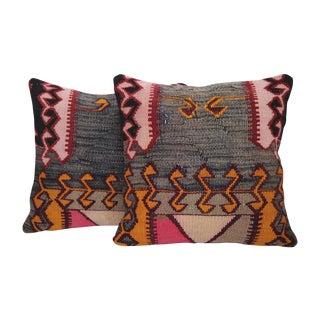 Gray & Pink Turkish Kilim Cushions - Pair