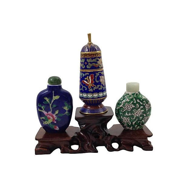 Image of Antique Snuff Bottles & Jar with Stand - S/4