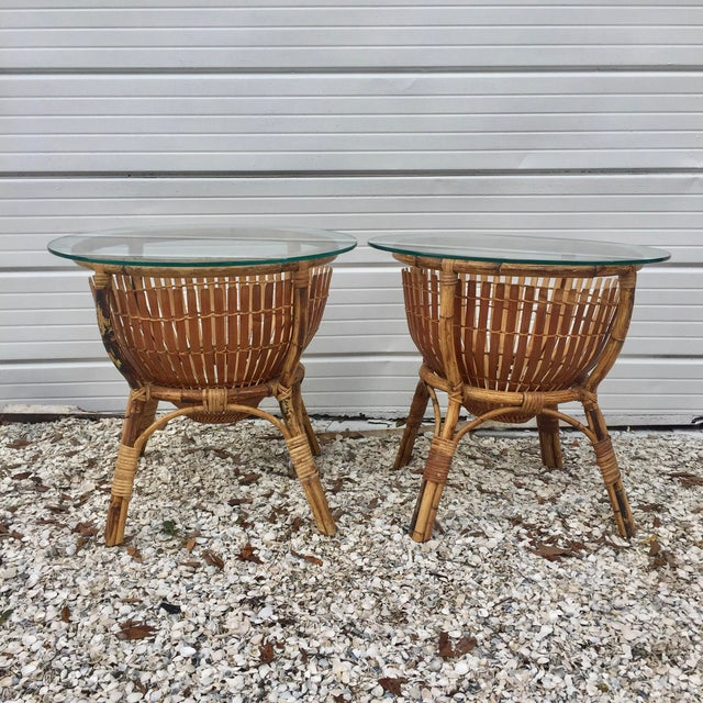 Vintage Rattan Fish Basket Tables -- A Pair - Image 2 of 6