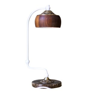 Mid-Century Marble & Oak Desk Lamp