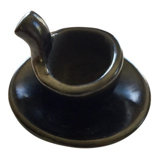 Glossy Black Miniature Pottery Set - A Pair