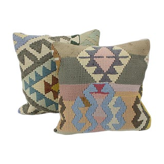 Geometric Turkish Kilim Throw Pillows - A Pair