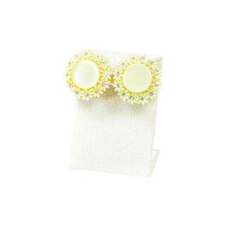 60's Yellow Daisy Disc Earrings