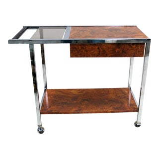 Chrome and Burl Laminate Bar Cart in the Style of Milo Baughman
