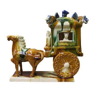 Chinese Tri-Color Ceramic Horse & Cart Figure