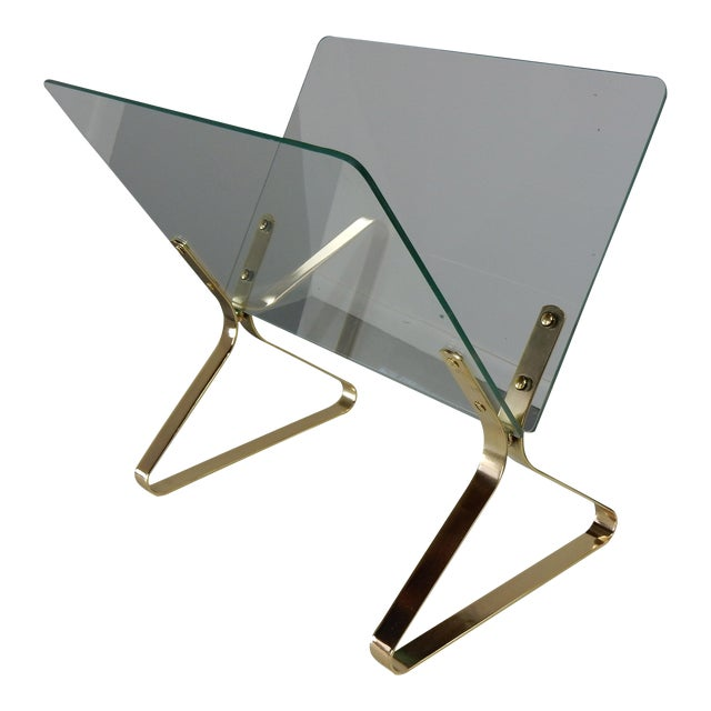 Milo Baughman Glass and Brass Magazine Rack - Image 1 of 8