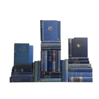 Mid-Century Sapphire Blue Books - Set of 35