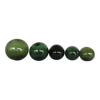 Vintage Green Glass Fishing Floats - Set of 5
