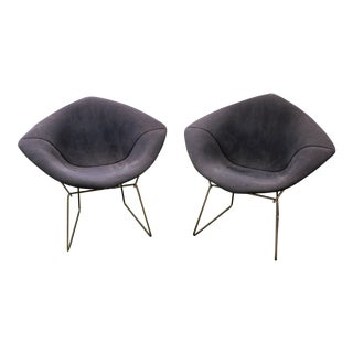 Mid-Century Modern Blue Harry Bertoia Knoll Chrome Diamond Chairs - A Pair